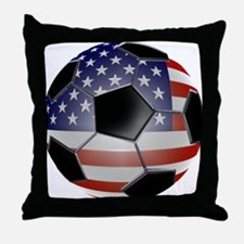 US Flag Soccer Ball Throw Pillow