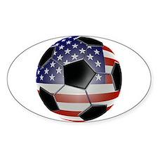 US Flag Soccer Ball Eye Bumper Stickers