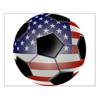US Flag Soccer Ball Small Poster