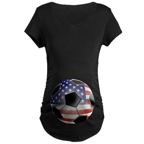 US Flag Soccer Ball Maternity Dark T-Shirt