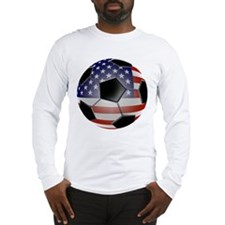 US Flag Soccer Ball Long Sleeve T-Shirt