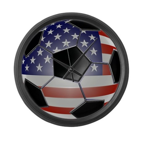 US Flag Soccer Ball Large Wall Clock