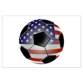 US Flag Soccer Ball Large Poster