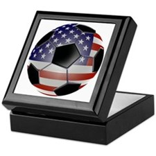 US Flag Soccer Ball Keepsake Box