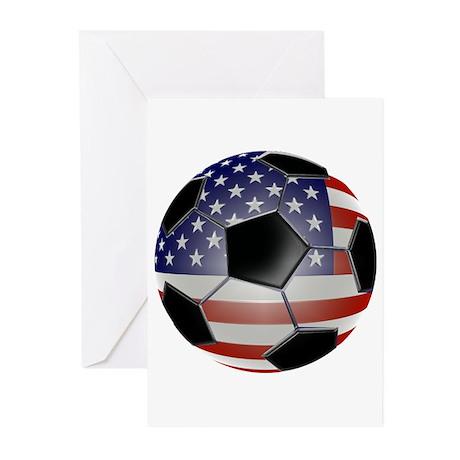 US Flag Soccer Ball Greeting Cards (Pk of 10)