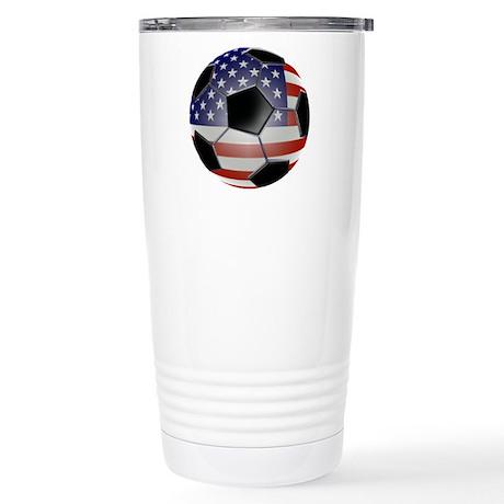 US Flag Soccer Ball Stainless Steel Travel Mug