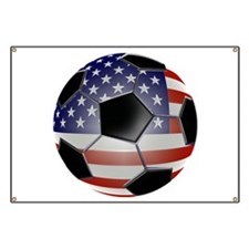 US Flag Soccer Ball Banner