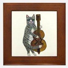 Cat and Cello Framed Tile