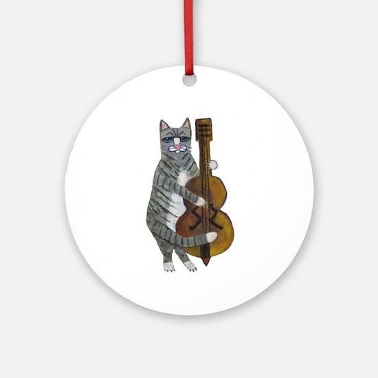 Cat and Cello Ornament (Round)
