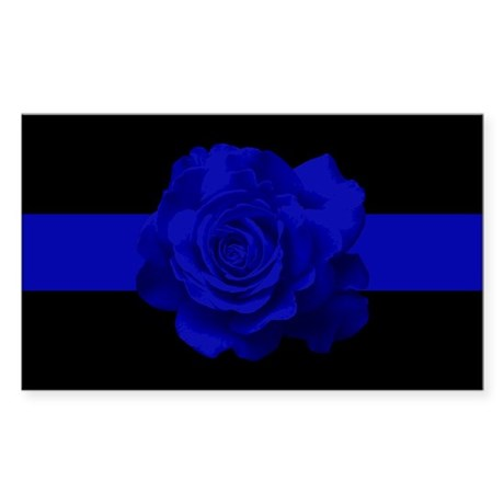 PoliceWives Blue Rose Blueline Sticker (Rectangle)