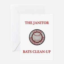 The Janitor Bats Clean-Up Greeting Card