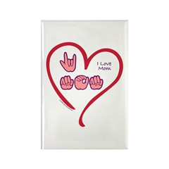 I Love Mom Rectangle Magnet (100 pack)