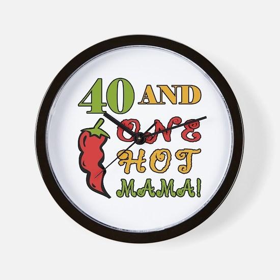Hot Mama At 40 Wall Clock