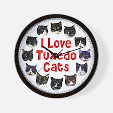Unique Black white tuxedo kitty Wall Clock