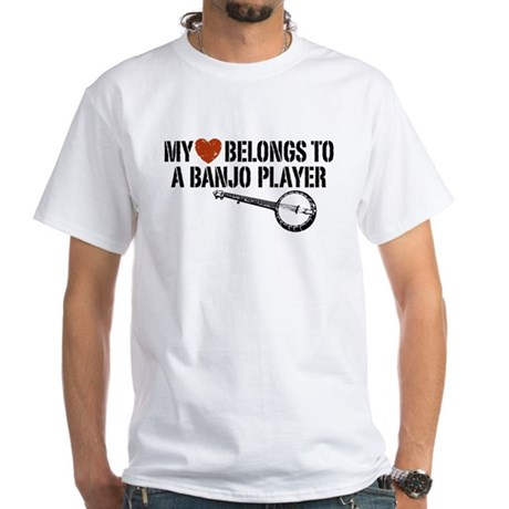 My Heart Banjo Player White T-Shirt
