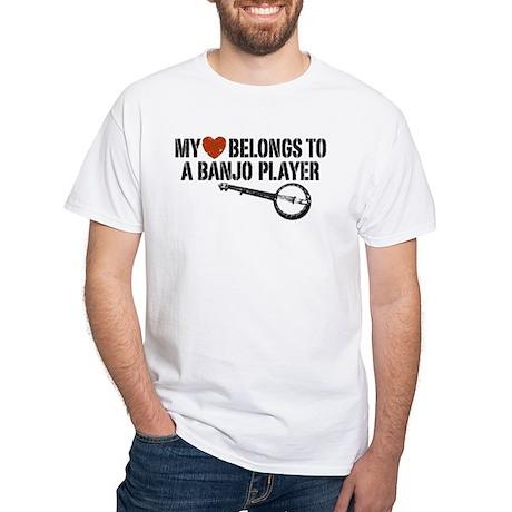 My Heart Banjo Player White T-Shirt