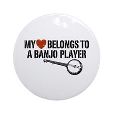 My Heart Banjo Player Ornament (Round)
