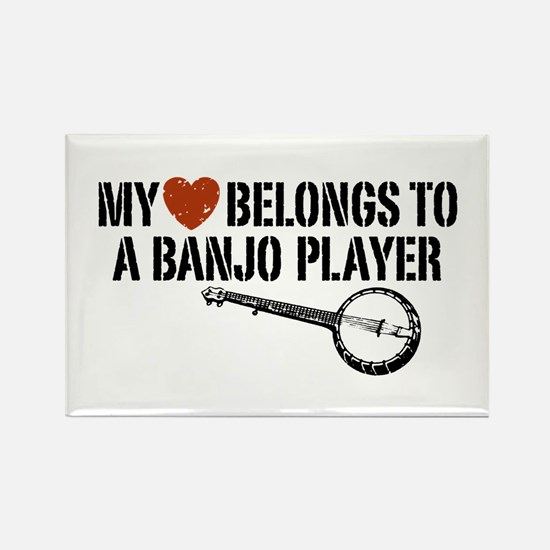My Heart Banjo Player Rectangle Magnet