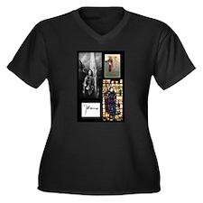 Cute Joan Women's Plus Size V-Neck Dark T-Shirt