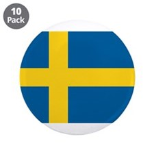 """Swedish Flag 3.5"""" Button (10 pack)"""