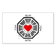 Sun and Jin Dharma Heart Bumper Stickers