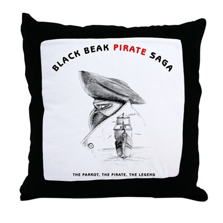 Black Beak Illustrations Throw Pillow