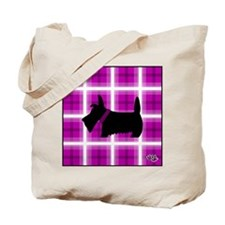 Purple Plaid Scottie Tote Bag