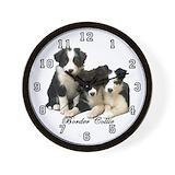 Border collie puppies Wall Clocks