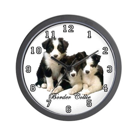 Border Collie Puppies Wall Clock