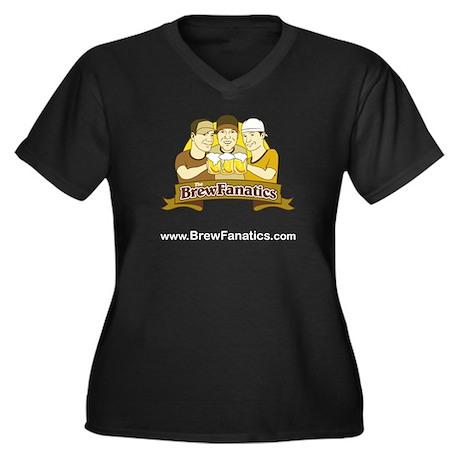 BrewFanatics Logo Women's Plus Size V-Neck Dark T-