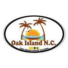 Oak Island NC - Sun and Palm Trees Design Decal