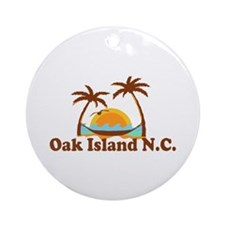 Oak Island NC - Sun and Palm Trees Design Ornament