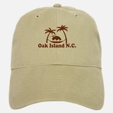 Oak Island NC - Sun and Palm Trees Design Baseball Baseball Cap