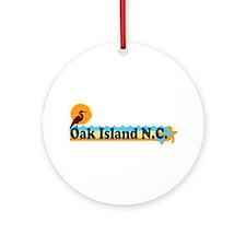 Oak Island NC - Beach Design Ornament (Round)