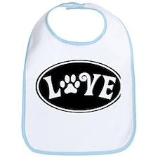 Love Paw Black Oval Bib