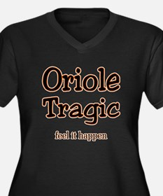 Oriole Tragic Women's Plus Size V-Neck Dark T-Shir