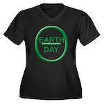Earth Day Women's Plus Size V-Neck Dark T-Shirt