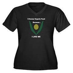 Organic for me Women's Plus Size V-Neck Dark T-Shi