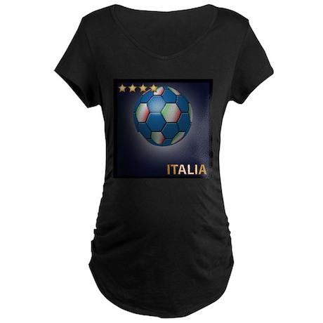 Italia Soccer Ball Maternity Dark T-Shirt