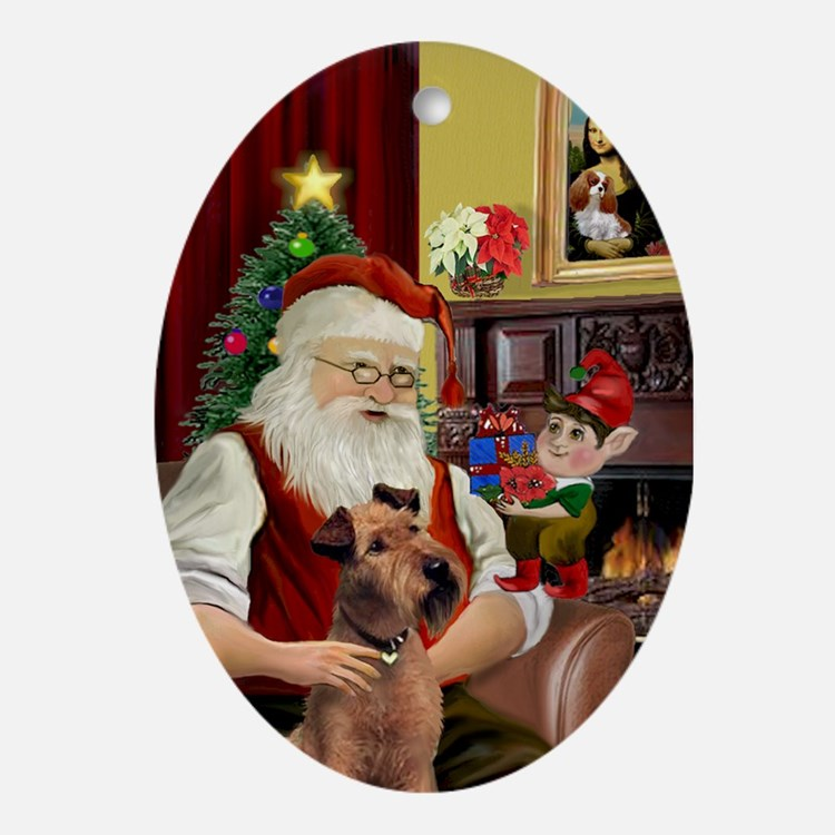 Santa and his Irish Terrier Oval Ornament