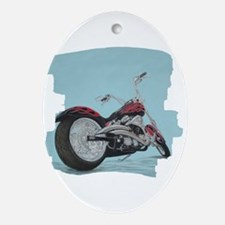 Motorcycle in Pastel Oval Ornament