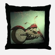 motorcycle in pastel Throw Pillow