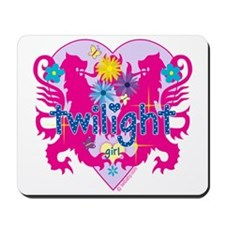 Twilight Girl Hearts and Flowers Mousepad