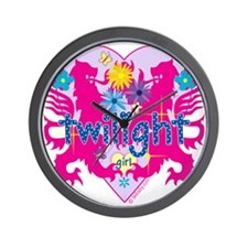 Twilight Girl Hearts and Flowers Wall Clock