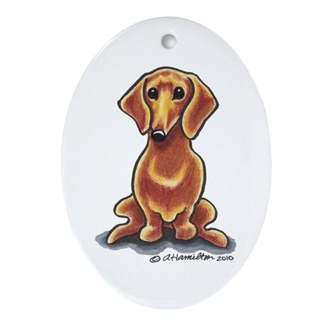 Smooth Red Dachshund Ornament (Oval)