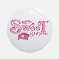 Sweet 16 Car Heart Ornament (Round)