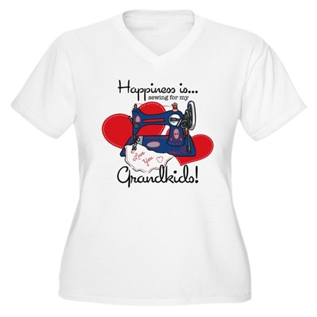 Happiness Is Sewing Women's Plus Size V-Neck T-Shi
