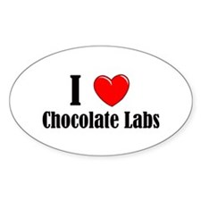 I Love Chocolate Labradors Oval Decal