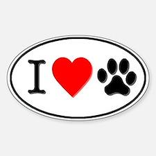 I Heart Paw White Oval Sticker (Oval)
