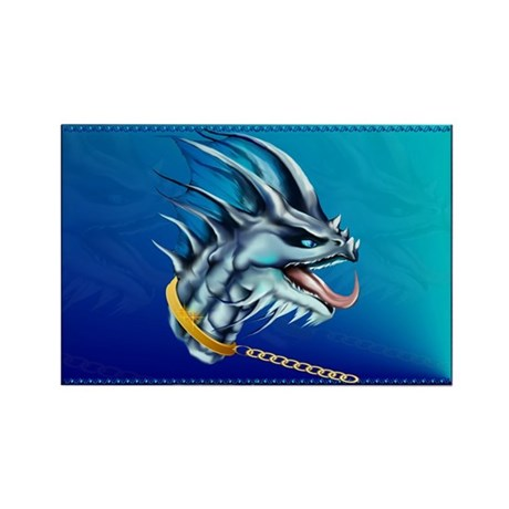 Dragon and Gold Chain Rectangle Magnet